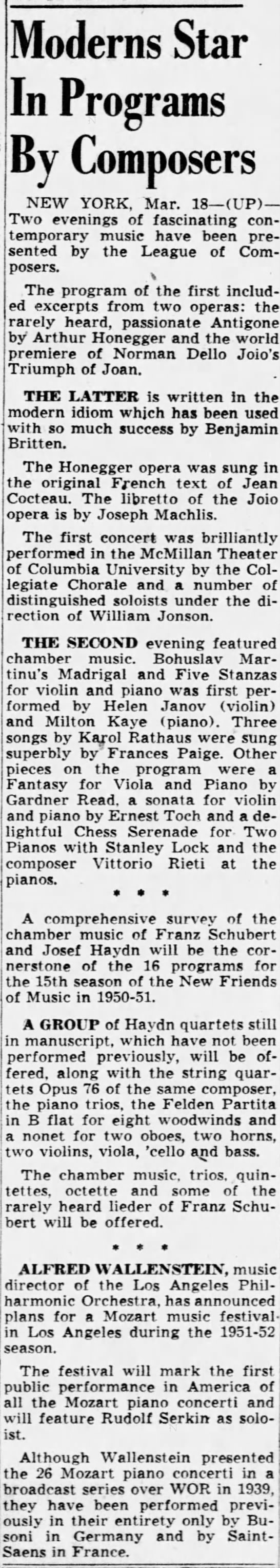 Moderns star in programs by composers 19/03/1950