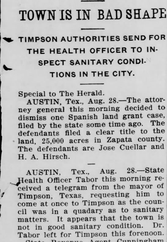 Timpson Sanitary El Paso Herald 8/28/1902