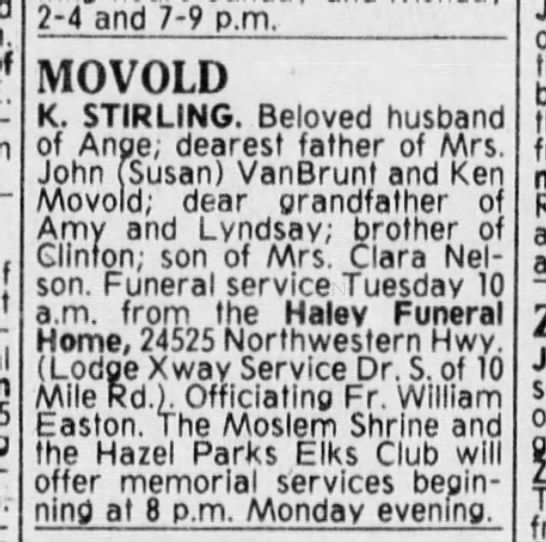K. Stirling Movold, 1981 (Kenneth Stirley Movold, son of William Theodore Movold)