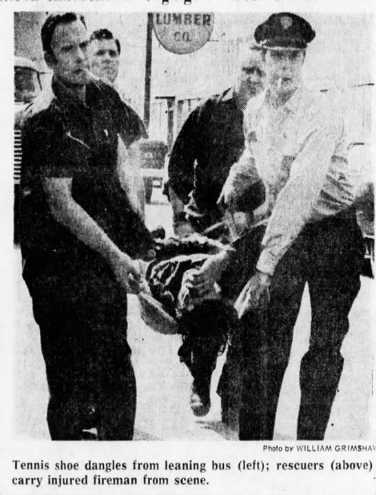 1972 firemen rescue hurt child from bus accident, still have cigarettes in mouth