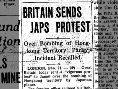 Japan bombs Hong Kong, angers Britain.