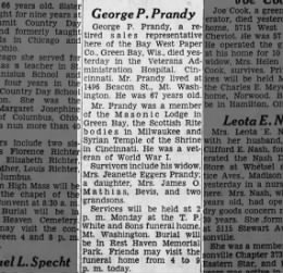 George P Prandy (1893-1960) Obituary