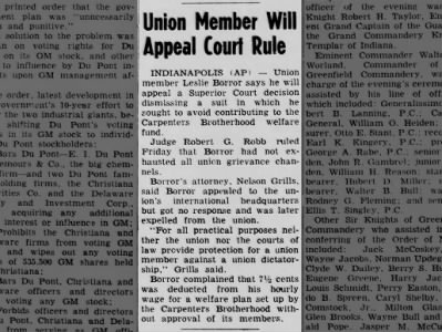 Union Member will Appeal Court Rule - Leslie Borror