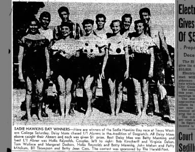 Winners of the Sadie Hawkins Day Race at Texas Western College, 1949