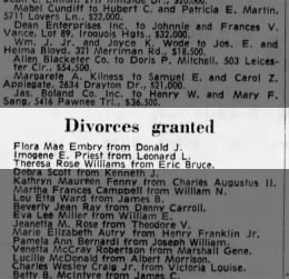 Imogene E. (Goodley) granted divorce from Leonard L. Priest (Courier-Journal, May 6, 1971)