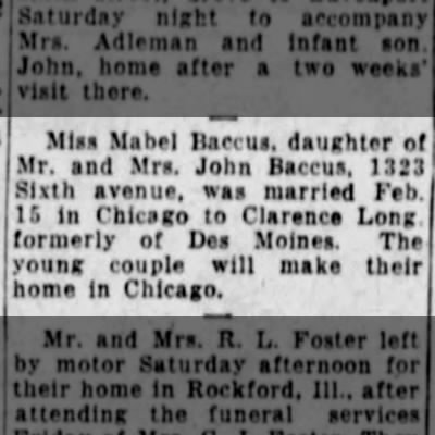 Mabel Baccus marriage 1930