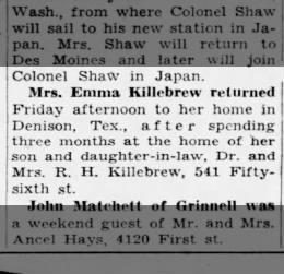 1948 Apr Bob's mother, Emma Fields Killlebrew, visits them for 3 months.