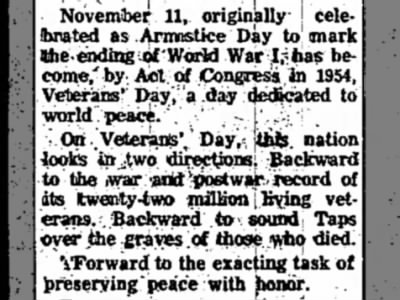 November 11, Armistice Day, Becomes Veterans Day in 1954