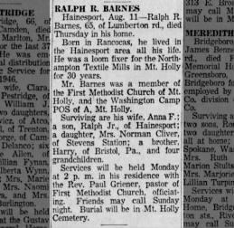 Ralph Barnes' obit