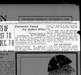 Commodore Hall made postmaster of DeHart North Carolina 1934 after father's death