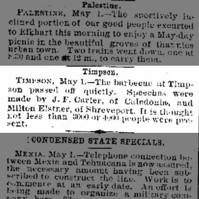 Bar-B-Cue at Timpson--3,000 people attend....in May of 1886