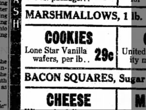 Lone Star vanilla wafer ad.