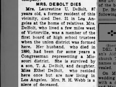 Obituary of Laurestine Dinsmoor Debolt