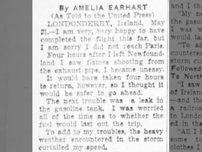 Amelia Earhart wished she'd made it to Paris