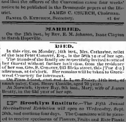 Catharine Conover death notice