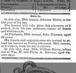 Obituary of Johnson Eldert  August  29, 1844