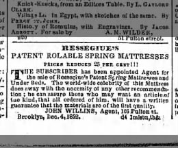 William F. Ressegiue ad for his patented mattress.