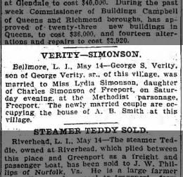 Lydia Simonson-George S. Verity marriage