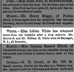 about Brooklyn People: Miss Libbie White, & Mr. Wm H. White at Barnegat, NJ.