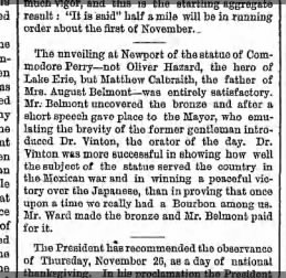 Brooklyn Eagle October 14 1868 Commander Perry / JQA Ward Statue of same