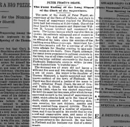 1890 - Obit for Peter Pigott, wife was daughter of Thomas Sheppard of Flatlands