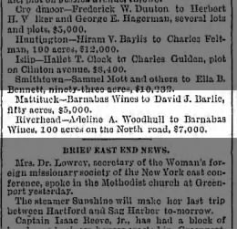 Barnabas Wines property transactions 1890