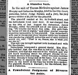 1880 Slander Suit vs James and Catherine Murphy Duffield Street