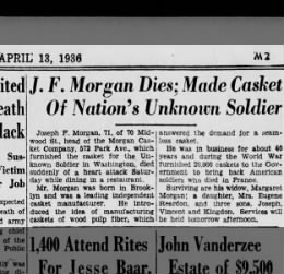 Obit of Joseph F Morgan, brooklyn Eagle 4/13/36