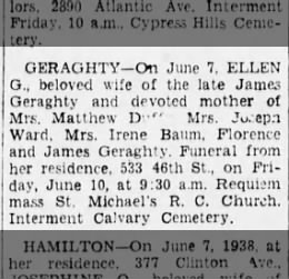 Ellen Geaghty Obit Brooklyn Dai;y Eagle 9 June 1938 p 15