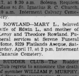GGrandma Rowland Brooklyn Eagle 15 Apr 1948 Thurs