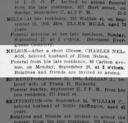 BDE Obit for GG Grandfather Charles Nelson 1903