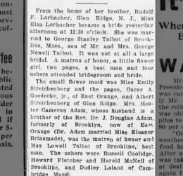 Wedding announcement of Elsa Lorbacher and George Stanley Talbot