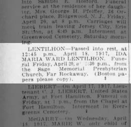 Ida Maria Ward Lentilhon Obit