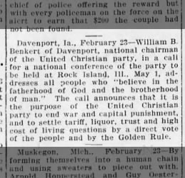 William R. Benkert Issues Call for 1912 Conference of United Christian Party, May 1, 1912