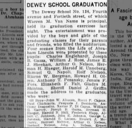 Paul Chichizola graduates Dewey 8B (26 Jan 1918)