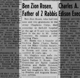 Ben Zion Rosen, obituary. Mentions daughter Mrs. Rebecca Feldbin.