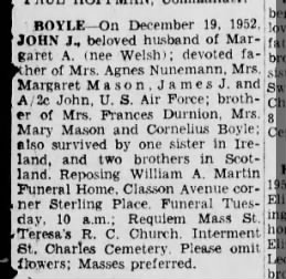 Obituary of John J. Boyle, 21 Dec 1952