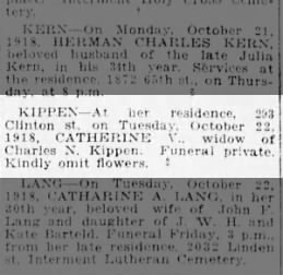 Catherine V. Kippen, Widow of Charles N. Kippen, Death Announcement