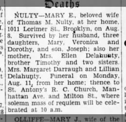 Nulty Mary obit daughter of ellen delahunty 8/9/30