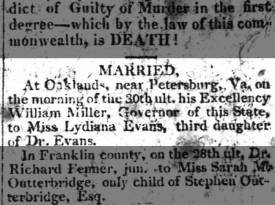 Marriage announcement, Governor William Miller and Lydiana Evans (1816).