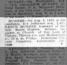 The Brooklyn Daily Eagle, Brooklyn, New York, Thursday, August 6, 1925, page 16, col 1.