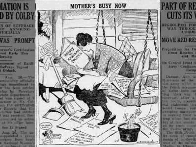 Cartoon from the day 19th Amendment added to Constitution