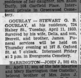 Stewart G. B. Gourlay obituary 12 April 1933  The Brooklyn Daily Eagle