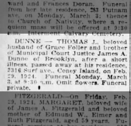 Death notice for Thomas J. Dunne