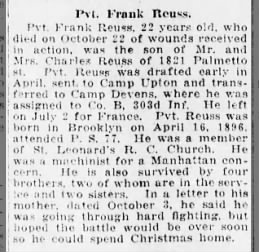 Pvt. Frank Reuss Killed In Action, 22 Oct 1918