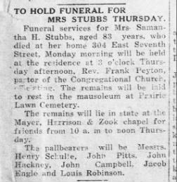 1 March 1922 - p. 1 - Samantha Stubbs Funeral