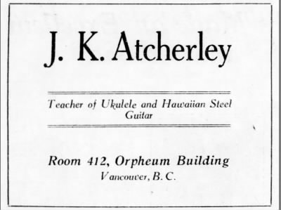 J. K. Atcherley, Teacher of Ukelele and Hawaiian Steel Guitar