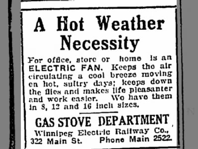 Electric Fan Ad from July 28, 1915