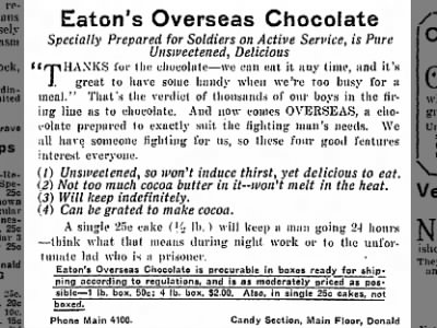Eaton's Overseas Chocolates Ad from Jul;y 28, 1915