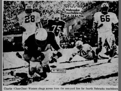 1965 Nebraska-Wisconsin football photo, Charlie Winters TD